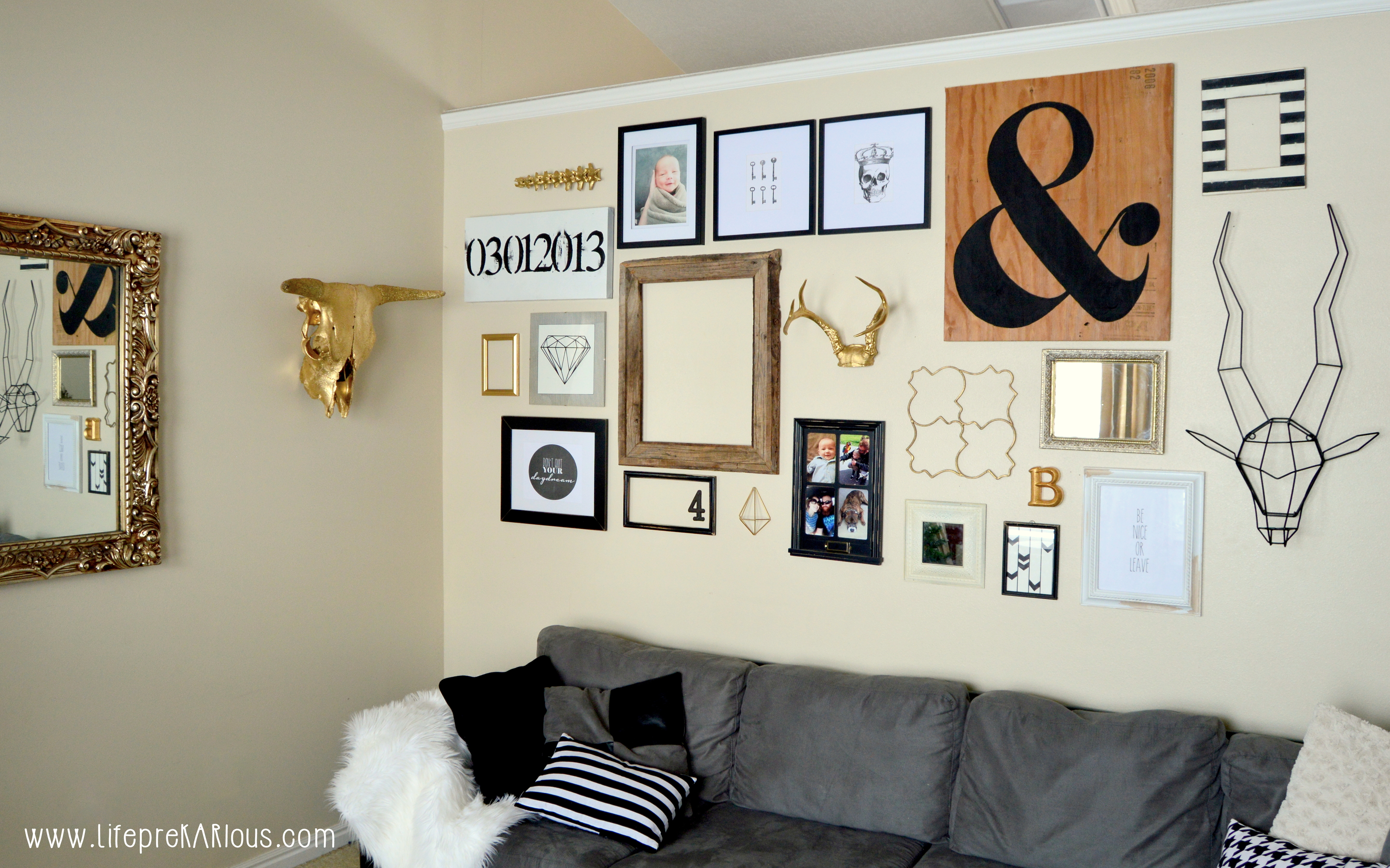 Black white and gold gallery wall rad the rest